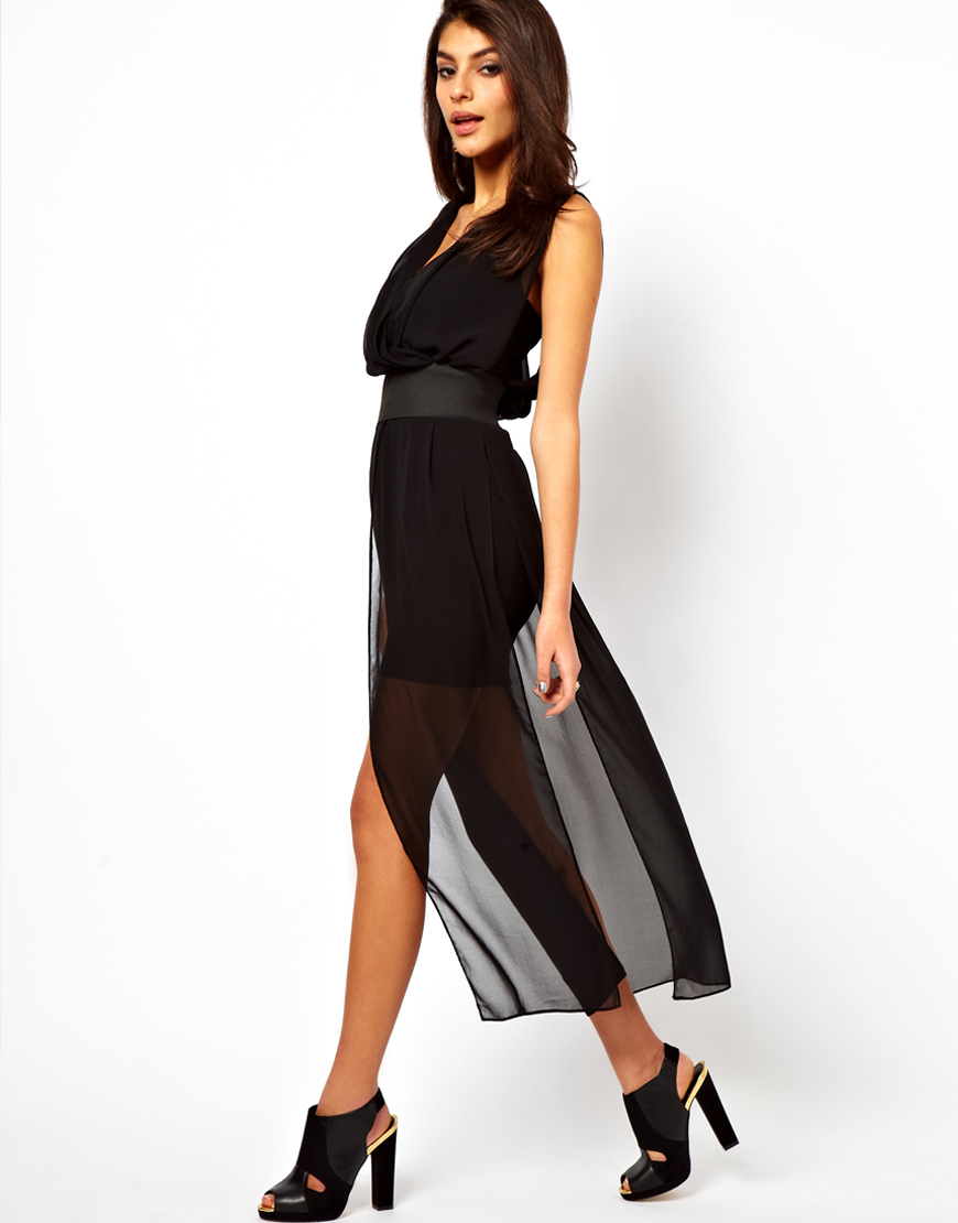 Asos Maxi Dress With Mini Skirt And Deep V Neck in Natural | Lyst