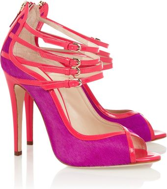 Brian Atwood Stellah Patent Leather and Calf Hair Sandals - Lyst