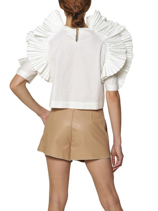 600dc46ccbc0d Lyst - Chloé Pleated Ruffle Cotton Poplin Top in White