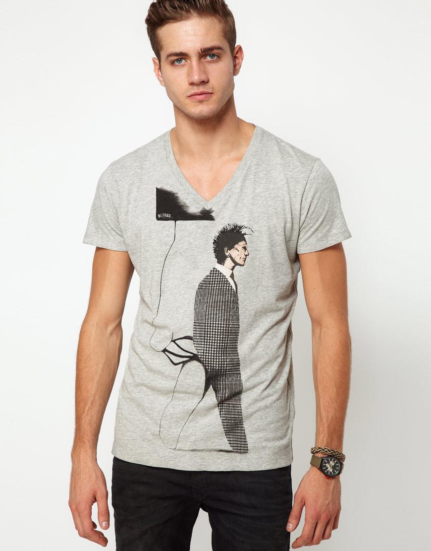 DIESEL Graphic Print V Neck T-Shirt in Gray for Men - Lyst