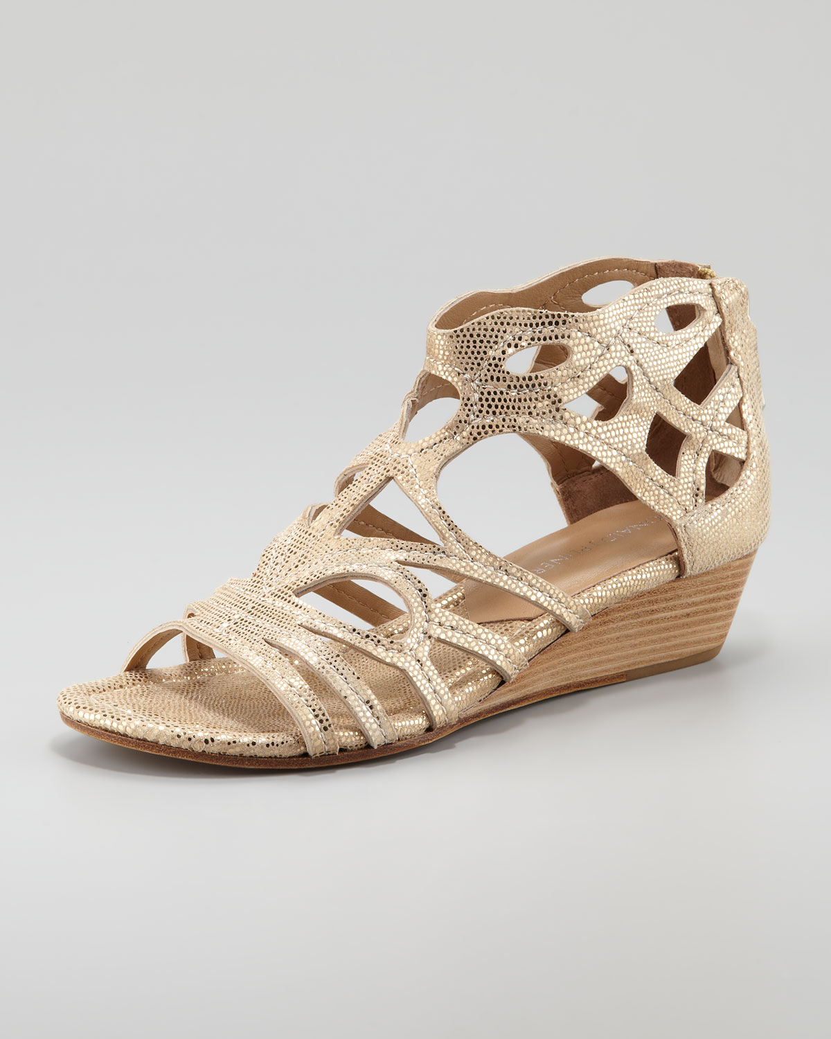 donald j pliner delite metallic cutout low wedge sandal