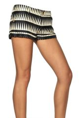 Fausto Puglisi Optical Print Silk Twill Shorts - Lyst