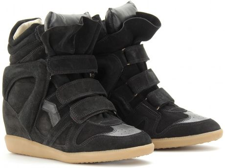 Isabel Marant Bekett Suede Wedge Sneakers in Black (jet)