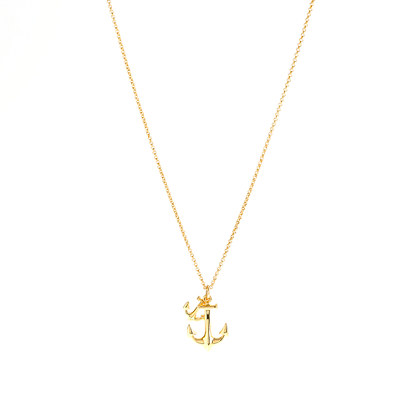 Lyst jew pav anchor pendant necklace in metallic gallery aloadofball Image collections