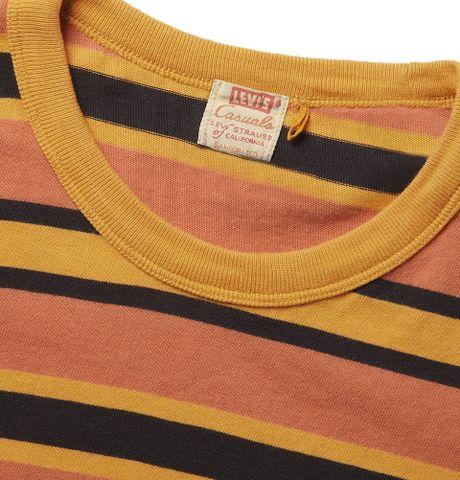 Orange Striped Shirt Mens T-shirt in Orange For Men