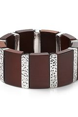 Marc By Marc Jacobs Wood Silver Stretch Bracelet - Lyst