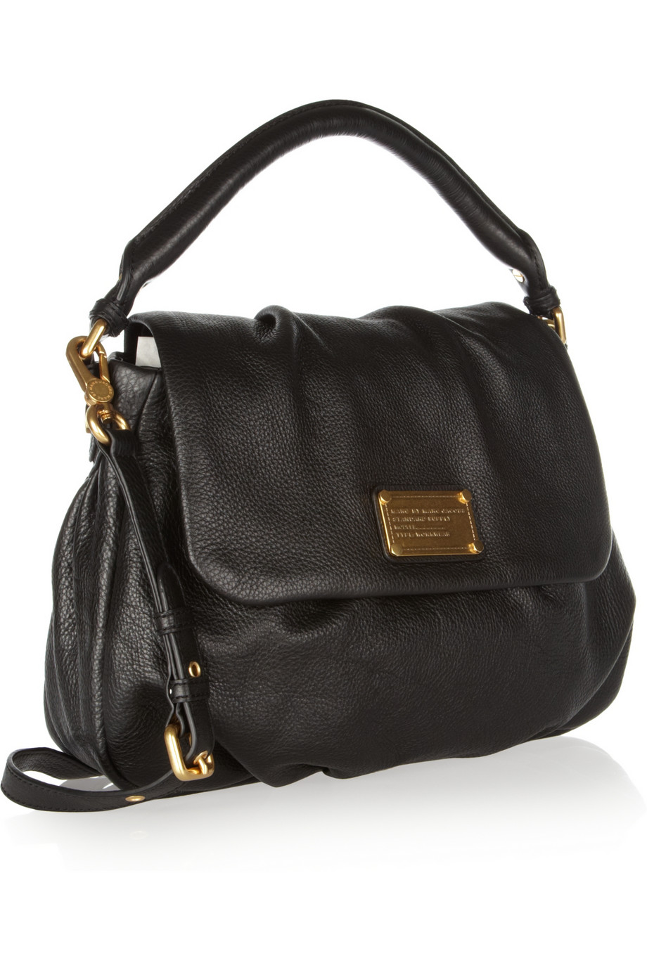 marc by marc jacobs classic q lil ukita textured leather shoulder bag in black lyst. Black Bedroom Furniture Sets. Home Design Ideas
