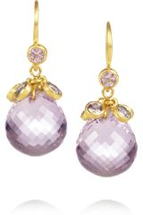 Marie-hélène De Taillac Crowned Berries 22karat Gold Amethyst and Sapphire Earrings