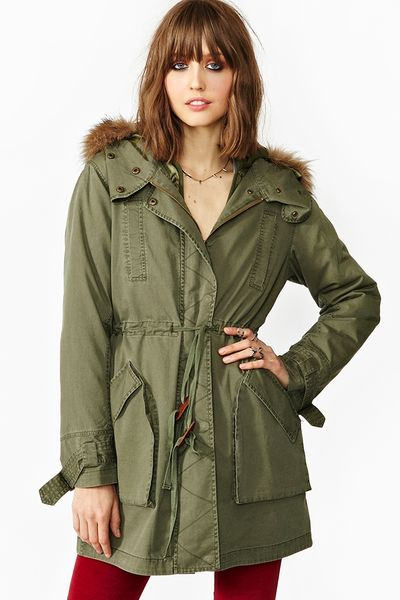 Nasty Gal Downtown Parka in Green (army) - Lyst