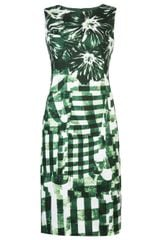 Oscar de la Renta Floral Check Dress - Lyst