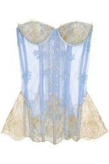 Rosamosario Embroidered Tulle and Lace Corset