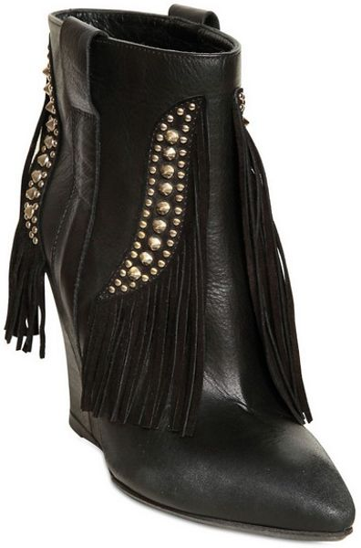 strategia leather and suede fringe wedge boots in black lyst