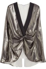 Vionnet Gathered Metallic Silkblend Top - Lyst