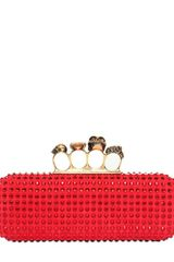 Alexander McQueen Swarovski On Suede Knucklebox Clutch - Lyst