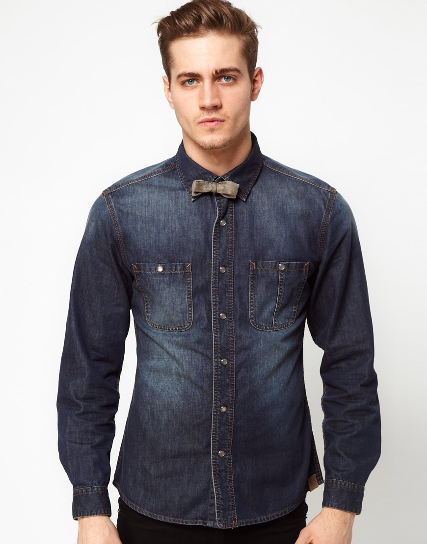 Lyst esprit denim shirt with bow tie in blue for men for Shirt and tie for men