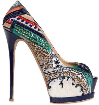Gianmarco Lorenzi Embroidered Printed Satin Pumps - Lyst