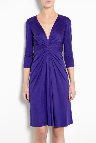 Issa Indigo Gather Waist Silk Jersey Dress in Purple (indigo)