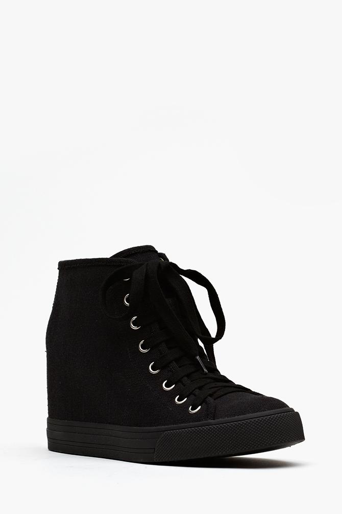 Lyst - Nasty Gal Gela Wedge Sneaker Black in Black