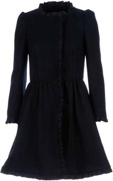 Red Valentino Cinched Waist Coat in Black - Lyst