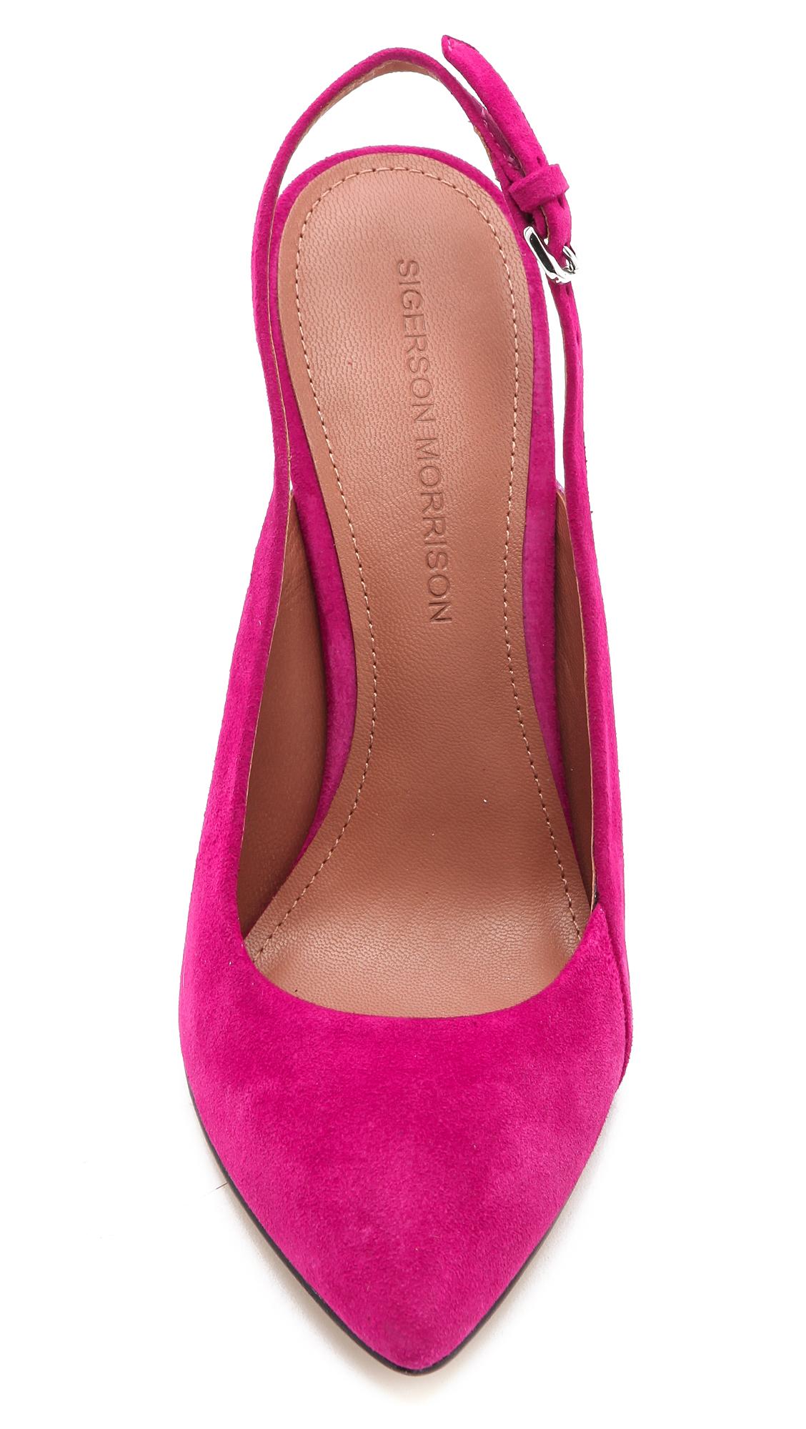 Sigerson morrison Slingback High Heels in Pink | Lyst