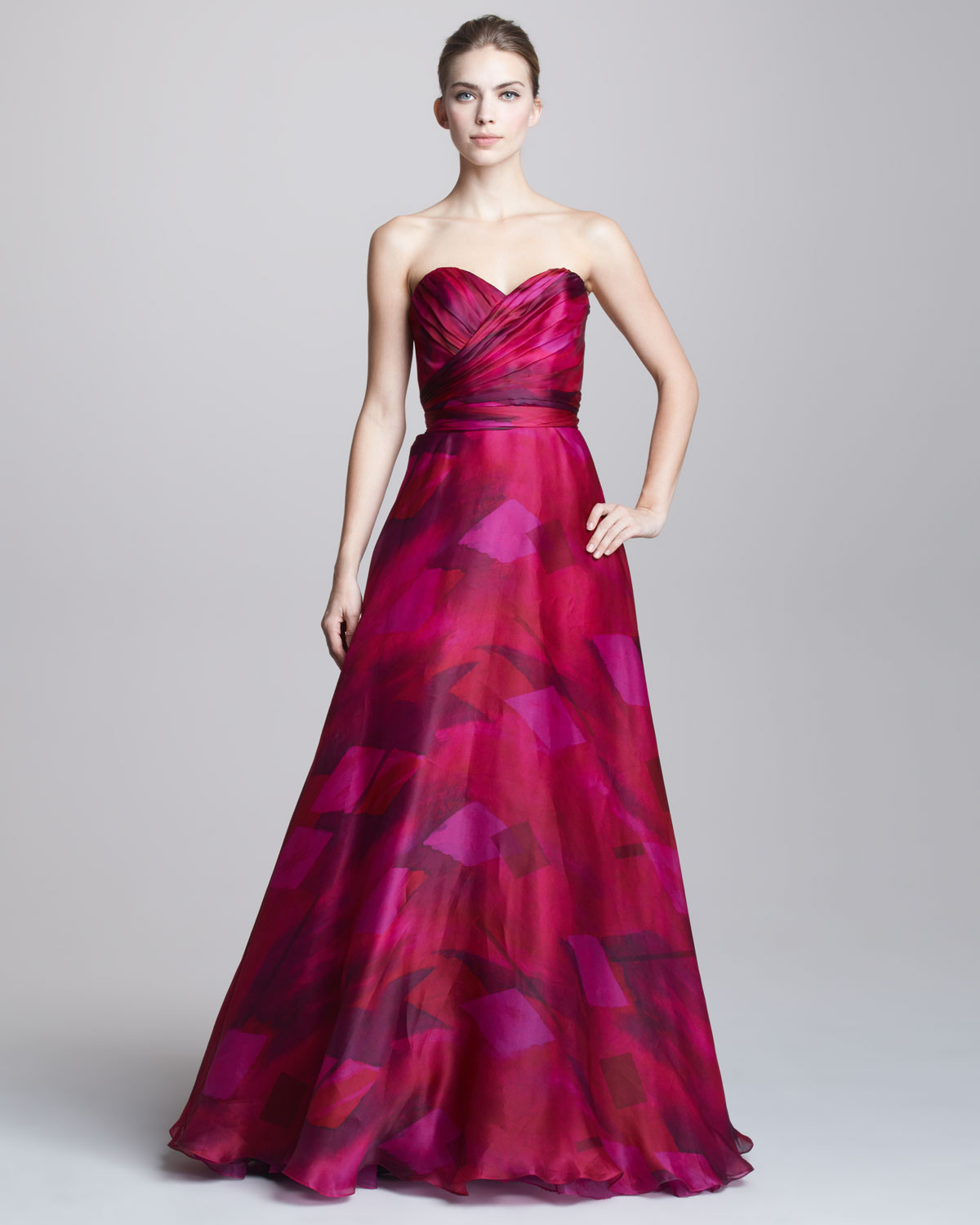 Theia printed sweetheart ball gown in pink lyst gallery previously sold at neiman marcus ombrellifo Image collections