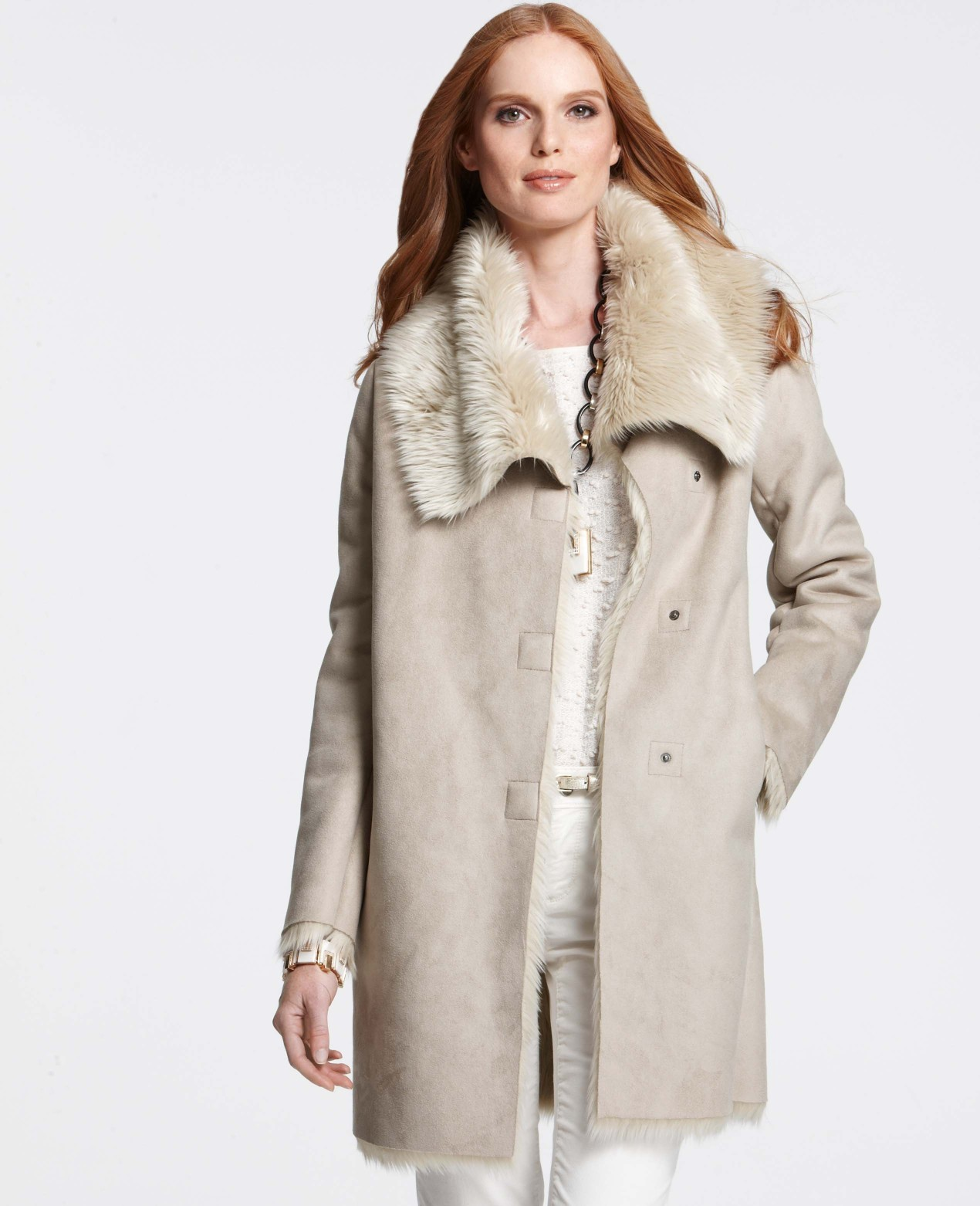 Ann taylor Faux Shearling Coat in Natural | Lyst