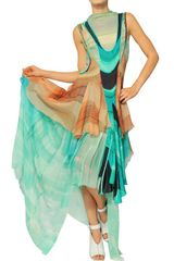 Felicity Brown Ruffled Printed Silk Chiffon Long Dress - Lyst