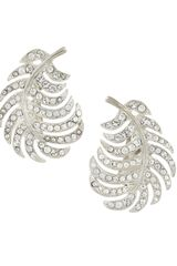 Kenneth Jay Lane Rhinestone Feather Clipon Earrings - Lyst