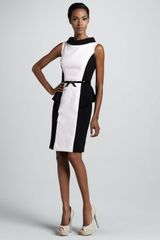 Rickie Freeman for Teri Jon Colorblock Peplum Cocktail Dress - Lyst