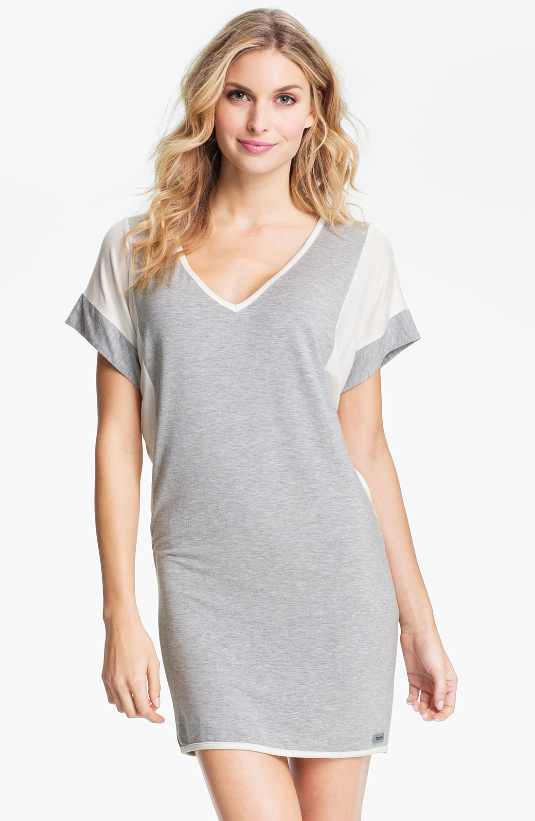dkny short sleeve sleep shirt in gray grey heather lyst