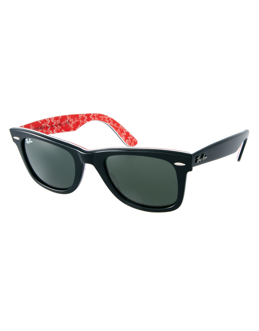 ray ban wayfarer sunglasses with internal print in red for. Black Bedroom Furniture Sets. Home Design Ideas