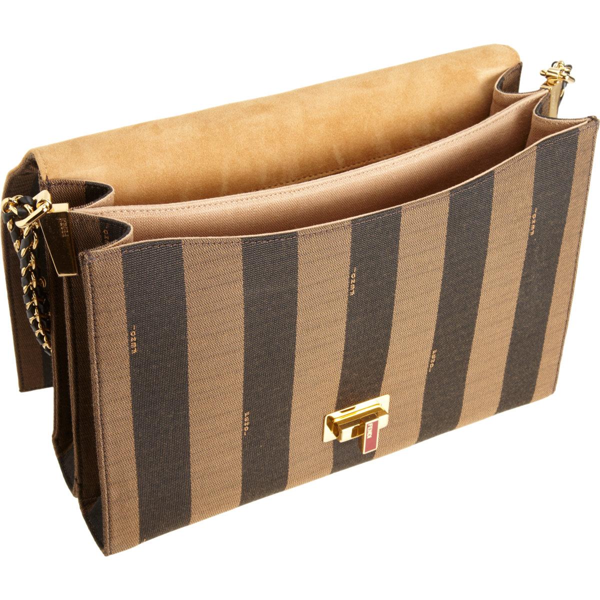 661eed2ac96 ... sale fendi large pequin stripe claudia bag in brown lyst 717de e346a