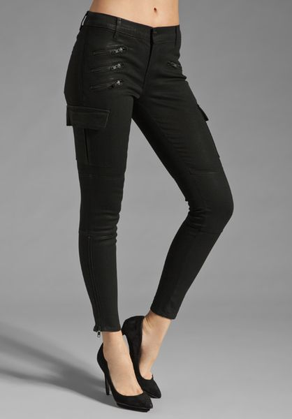 J Brand The Brix Cargo Zip Skinny in Black (coated stealth) - Lyst