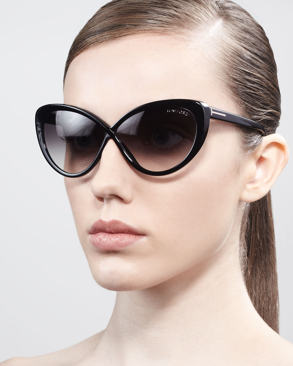 Tom Ford Madison Oversized Cateye Sunglasses In Black