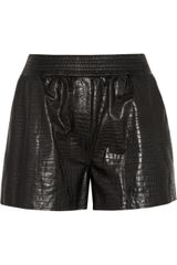 Alexander Wang Croceffect Leather Shorts - Lyst