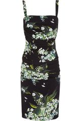Dolce & Gabbana Ruched Printed Crepe Dress - Lyst