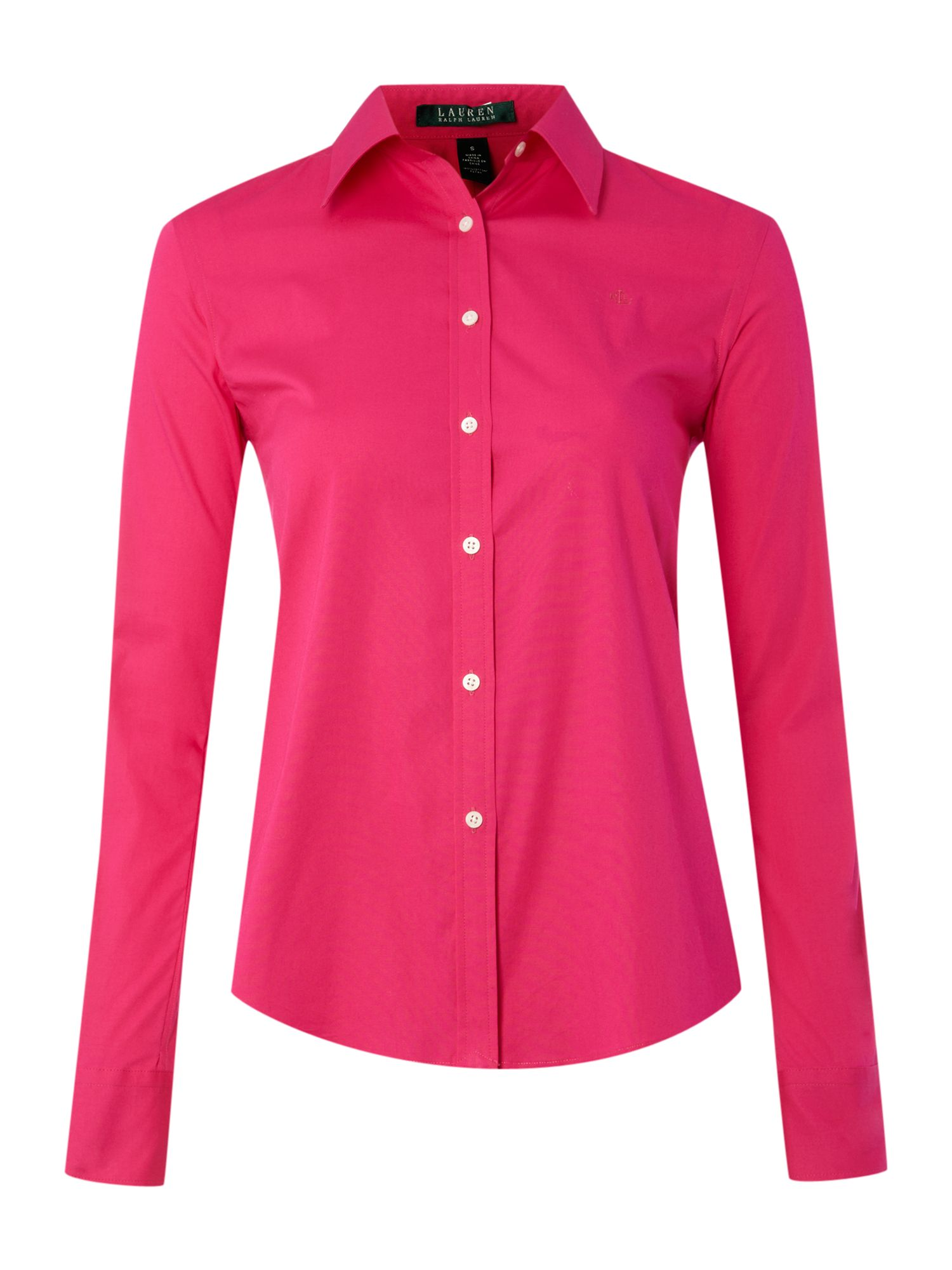 lauren by ralph lauren long sleeved blouse with logo in pink lyst. Black Bedroom Furniture Sets. Home Design Ideas