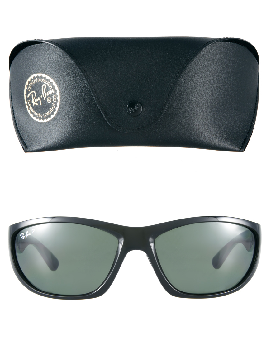 Ray Ban Wrap Sunglasses In Black For Men Lyst