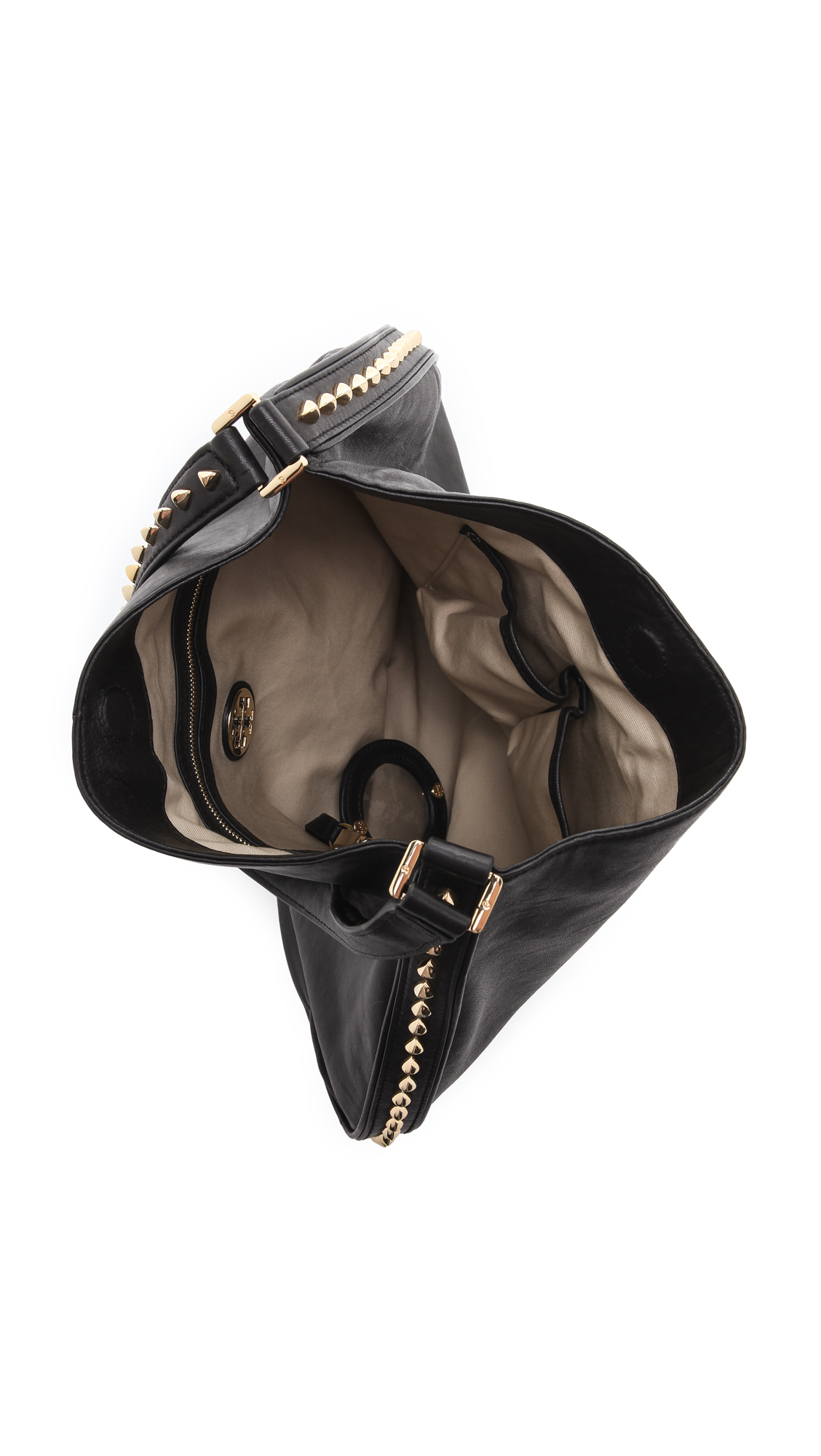 7e9fe4f11637 Lyst - Tory Burch Pyramid Studded Hobo Bag in Black