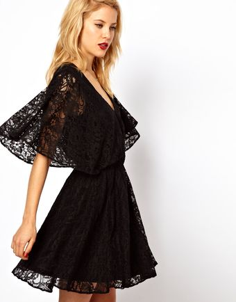 Asos Lace Dress with Cape Back - Lyst
