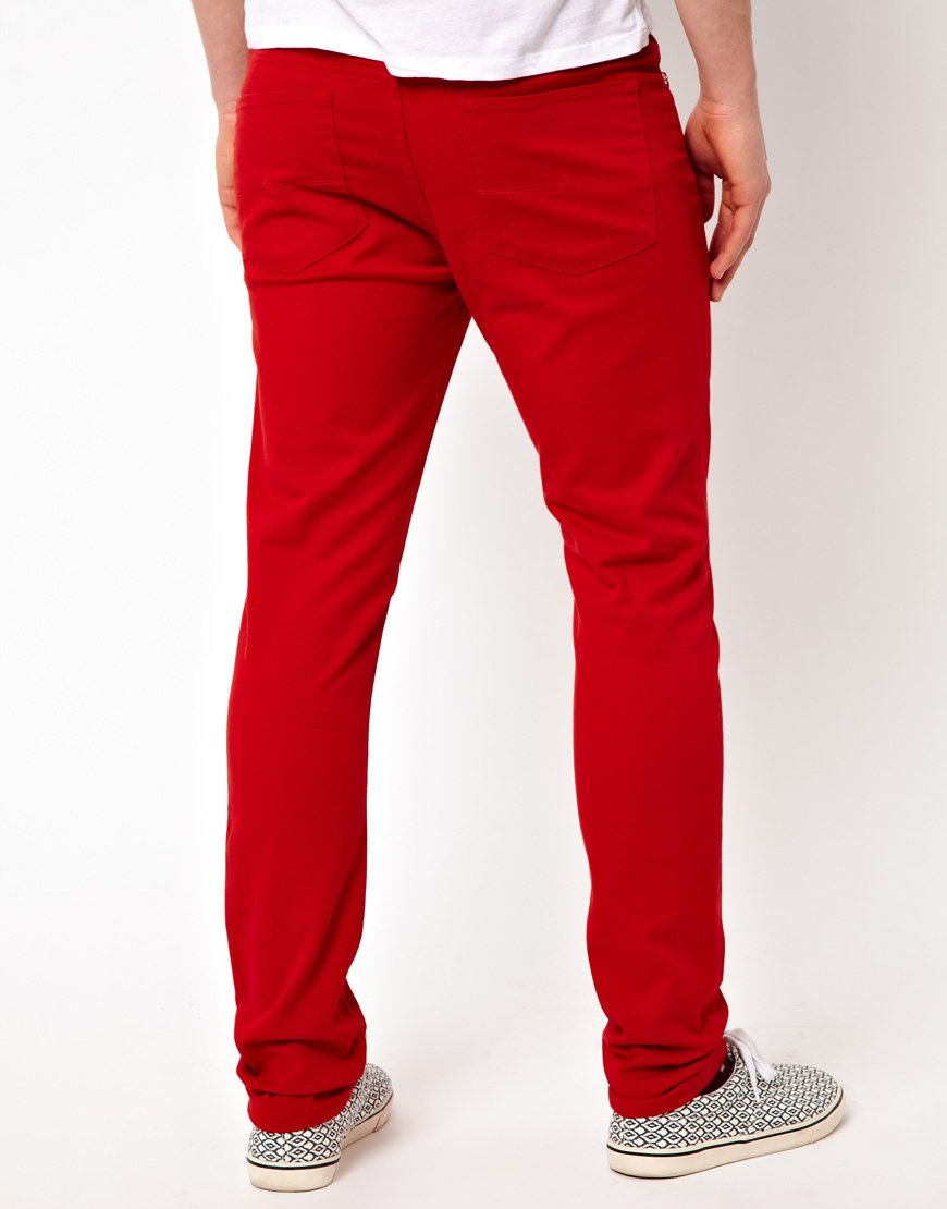 Asos Asos Skinny Jeans In Red For Men Lyst