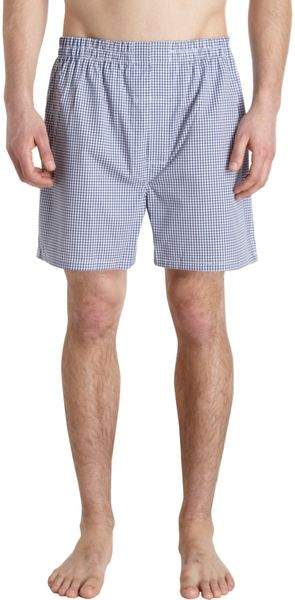 Barneys New York Check Boxers - Lyst