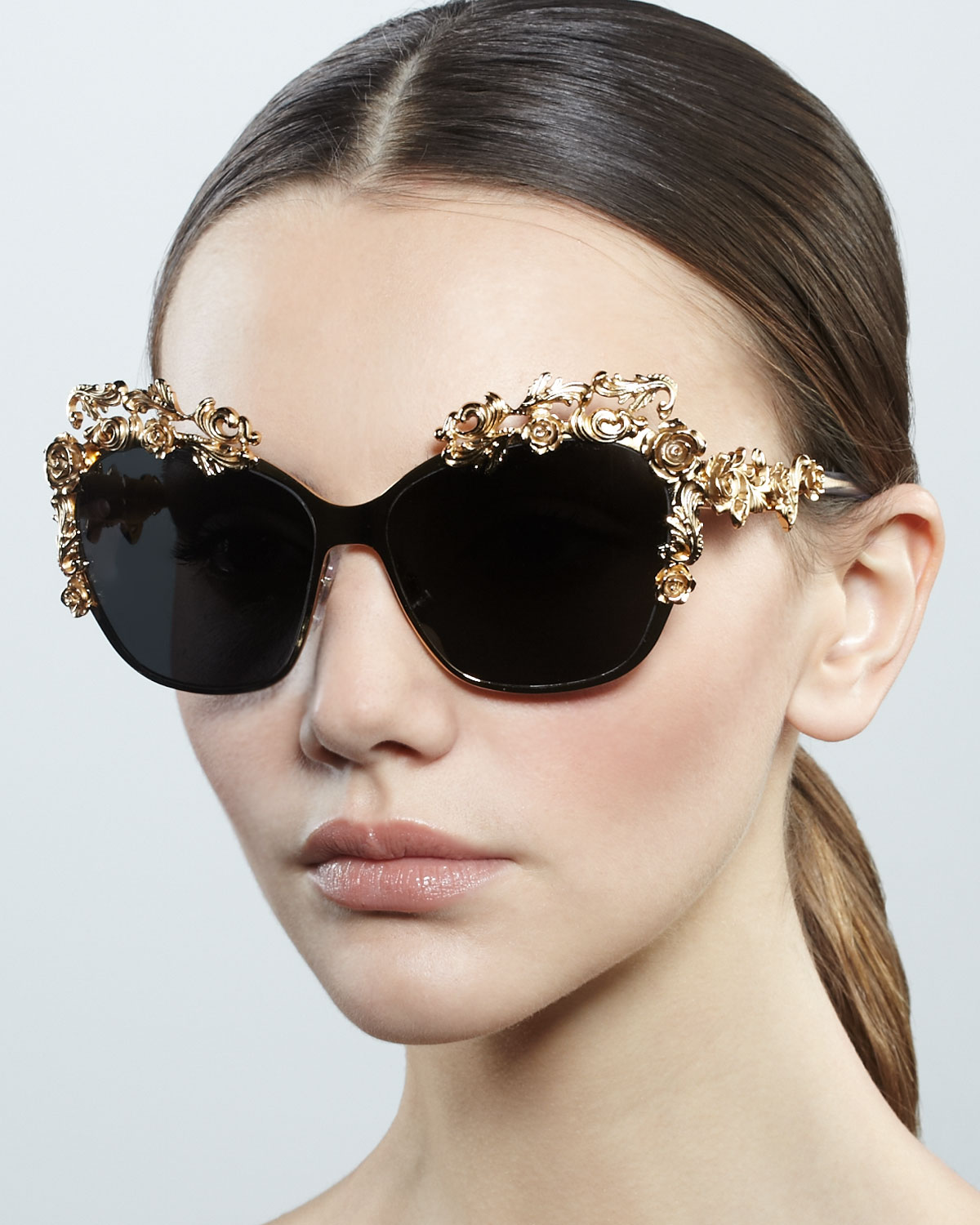 Dolce And Gabbana Gold Sunglasses  dolce gabbana baroque flower square sunglasses in metallic lyst