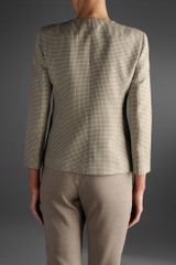 Emporio Armani Three Quarter Sleeve Jacket Check Pattern in Gray (Grey) - Lyst