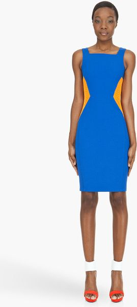 Hussein Chalayan Royal Blue Mesh-Paneled Dress - Lyst