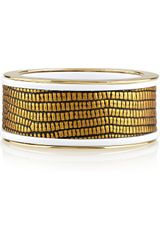 Kara Ross Goldplated Lizard detail Resin Bangle - Lyst