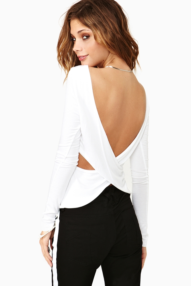 Nasty gal Wrap Party Tee in White | Lyst