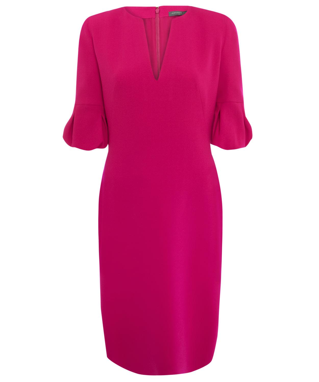 Alexander Mcqueen Fuschia Tulip Sleeve Dress In Pink Lyst