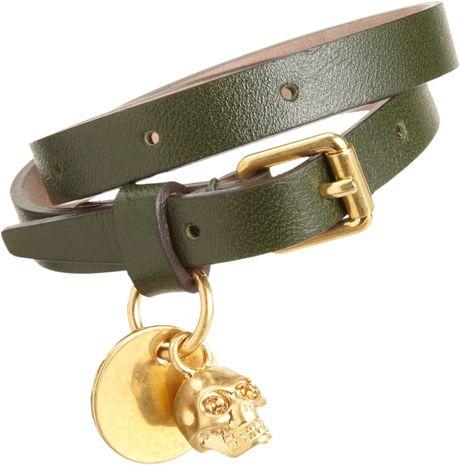 mcqueen leather belt bracelet with skull charm