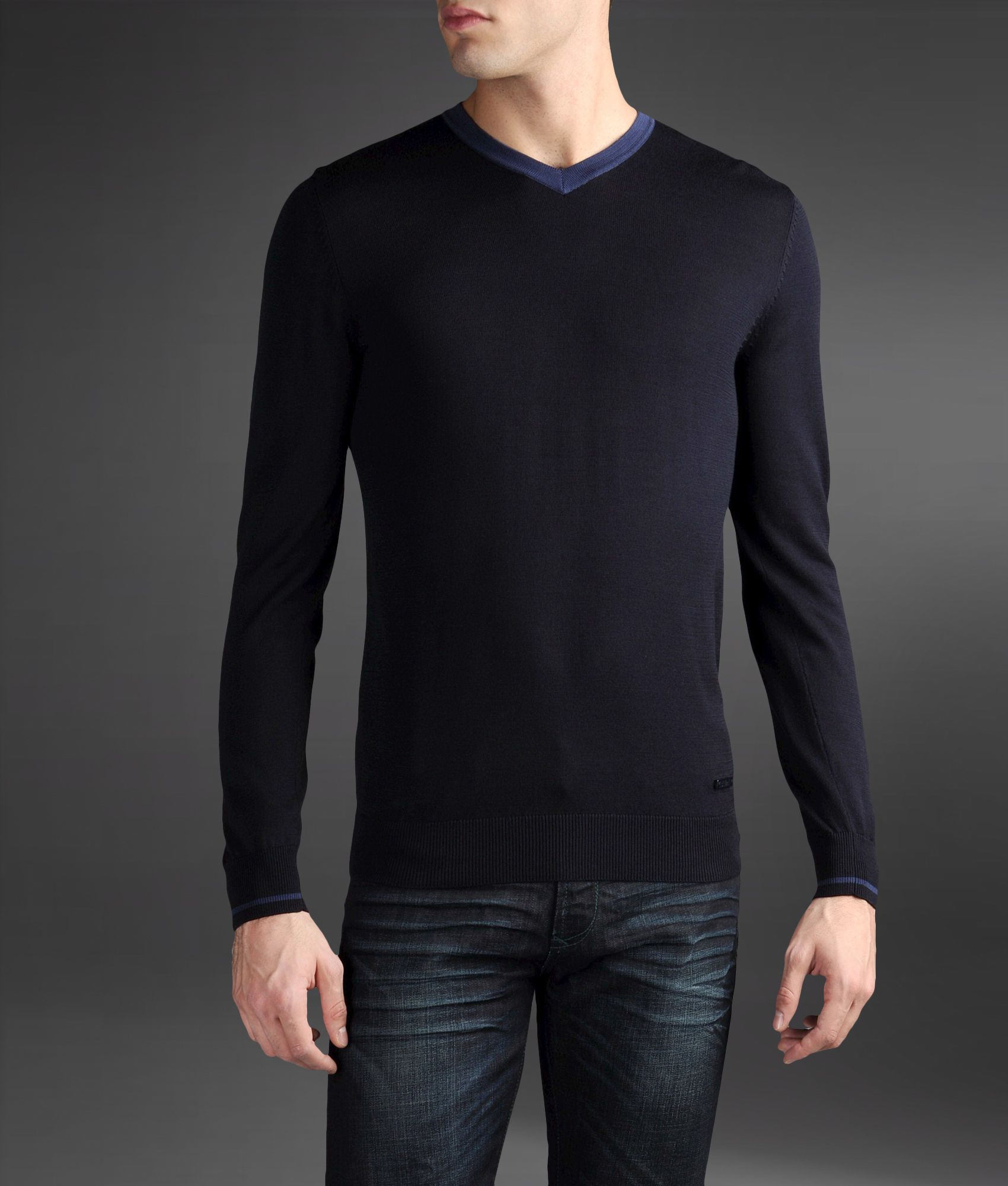 Armani Silk Cotton V Neck T Shirt In Blue For Men Dark